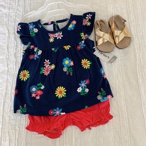 Carter's Floral Outfit w/ Gold Old Navy Sandal
